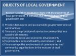 objects of local government