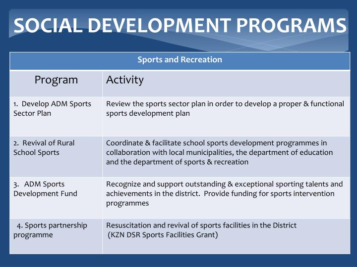 SOCIAL DEVELOPMENT PROGRAMS