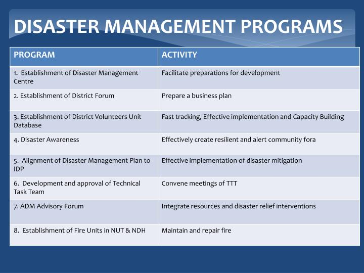 DISASTER MANAGEMENT PROGRAMS
