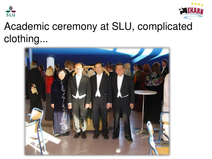 Academic ceremony at SLU, complicated clothing...