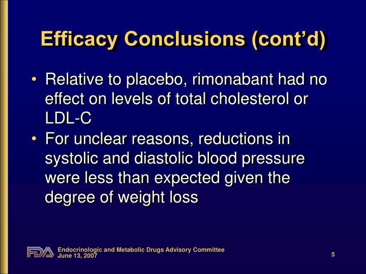 Efficacy Conclusions (cont'd)