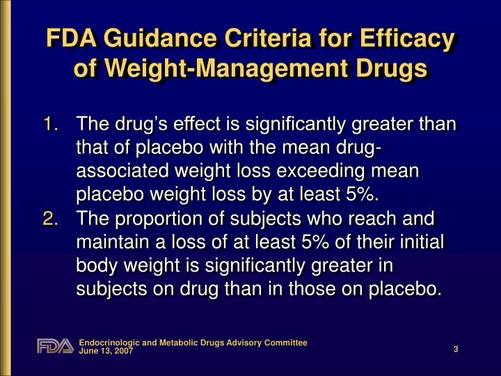 Fda guidance criteria for efficacy of weight management drugs