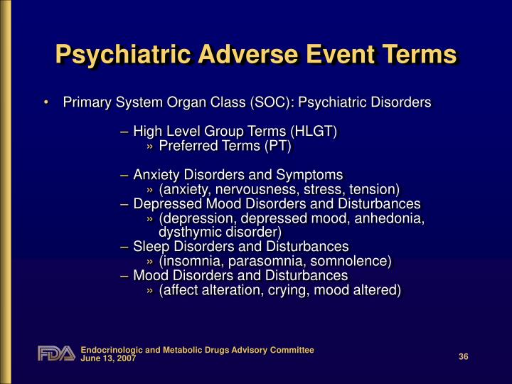 Psychiatric Adverse Event Terms