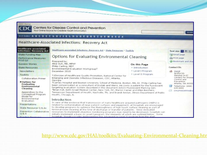 http://www.cdc.gov/HAI/toolkits/Evaluating-Environmental-Cleaning.html