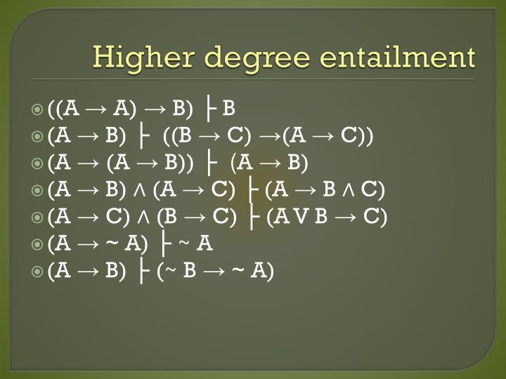 Higher degree entailment