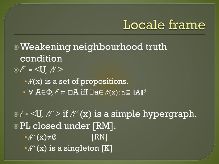 Locale frame
