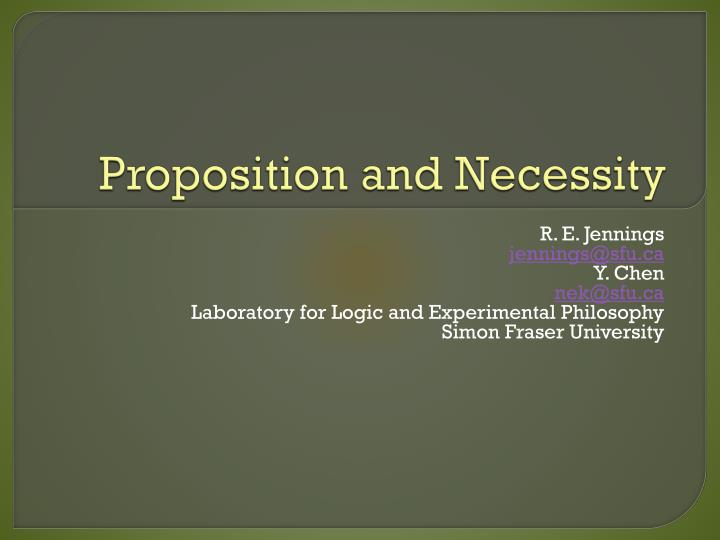 Proposition and necessity