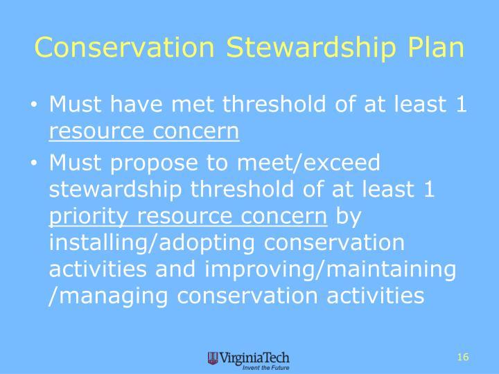 Conservation Stewardship Plan