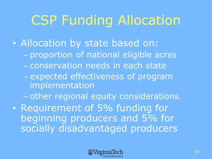 CSP Funding Allocation