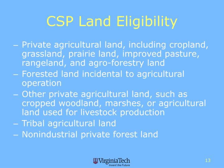 CSP Land Eligibility