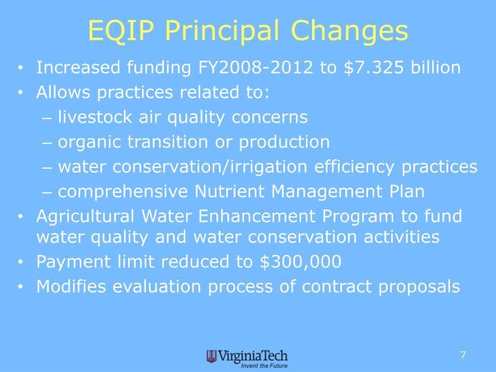 EQIP Principal Changes