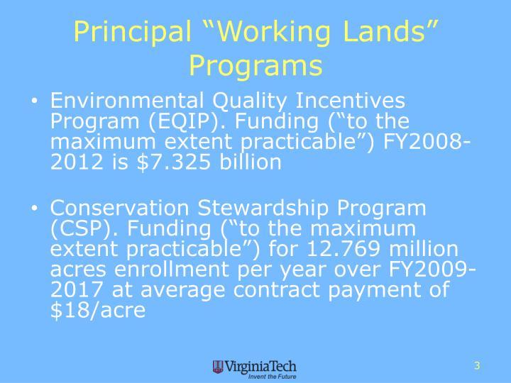 "Principal ""Working Lands"" Programs"