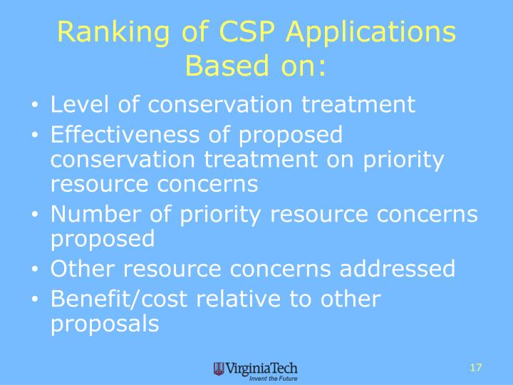 Ranking of CSP Applications Based on: