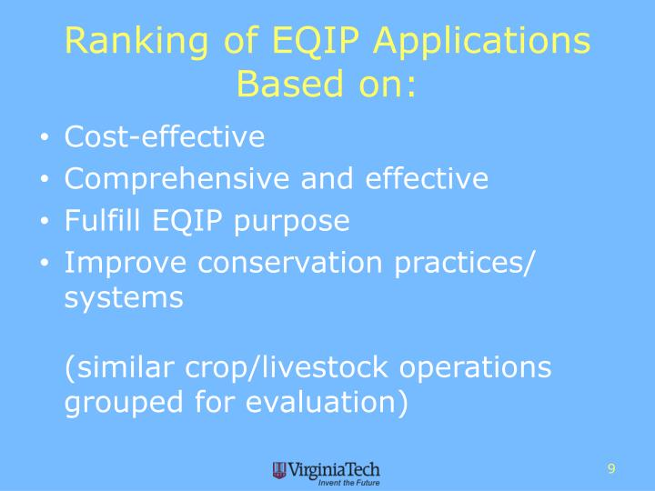 Ranking of EQIP Applications Based on: