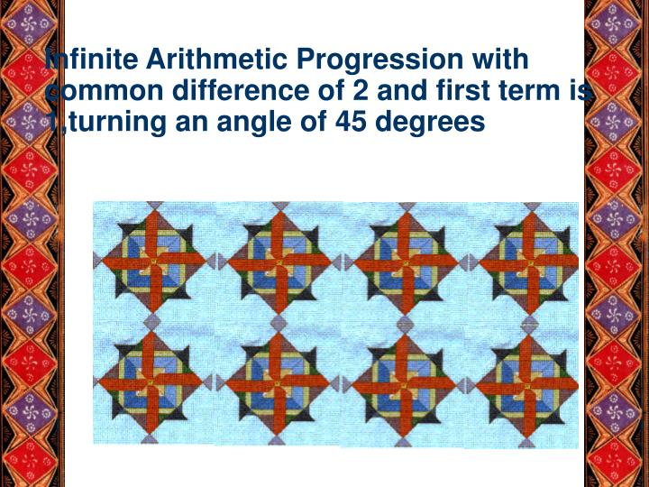 Infinite Arithmetic Progression with common difference of 2 and first term is 1,turning an angle of 45 degrees