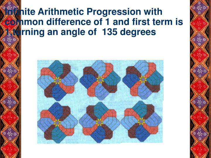 Infinite Arithmetic Progression with common difference of 1 and first term is 1,turning an angle of  135 degrees