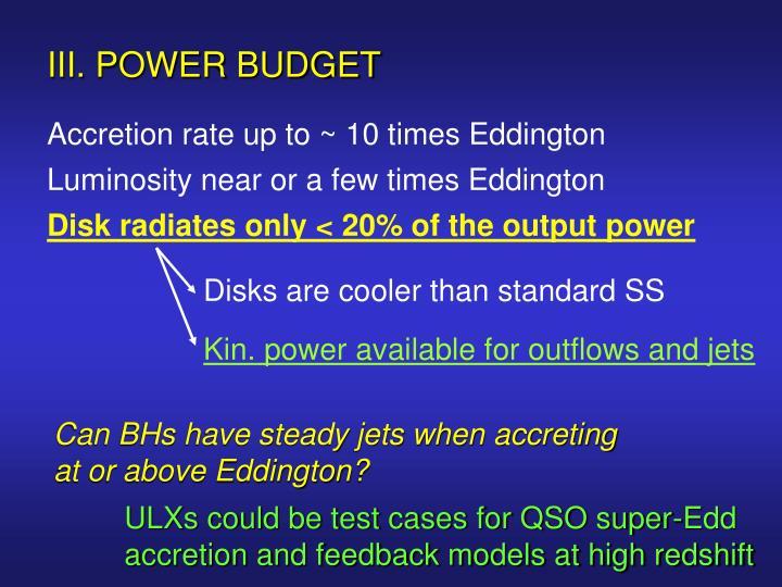 III. POWER BUDGET