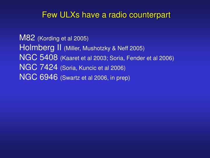 Few ULXs have a radio counterpart