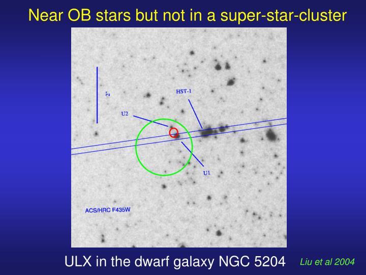 Near OB stars but not in a super-star-cluster