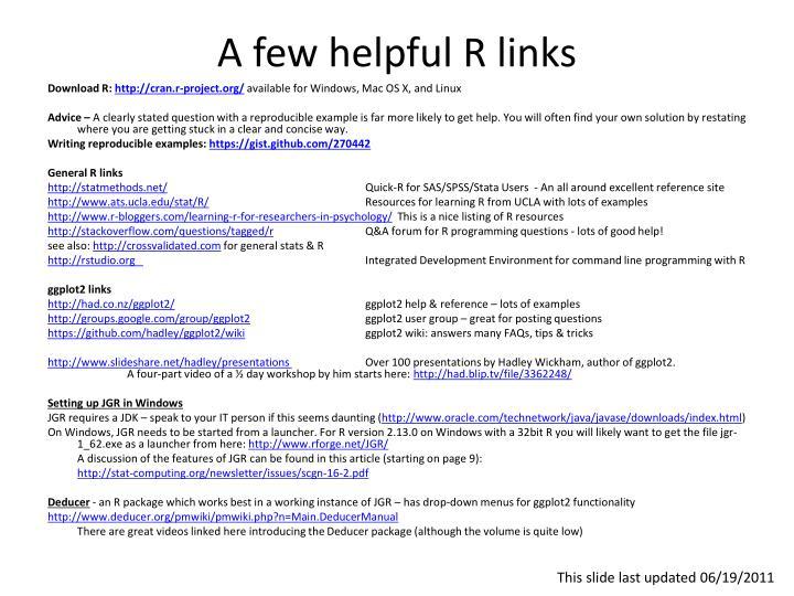 A few helpful R links