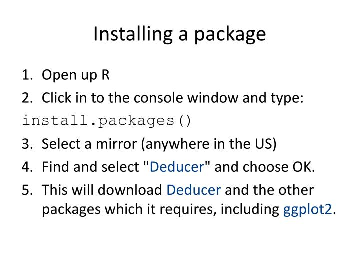 Installing a package