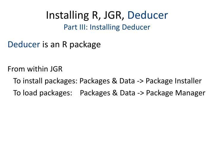 Installing R, JGR,