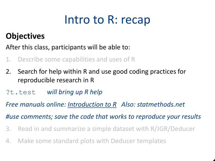 Intro to R: recap
