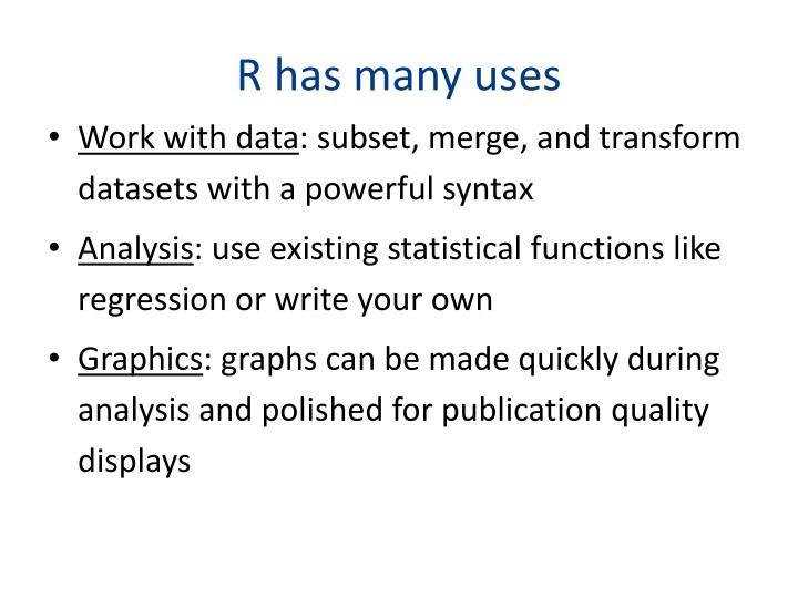 R has many uses