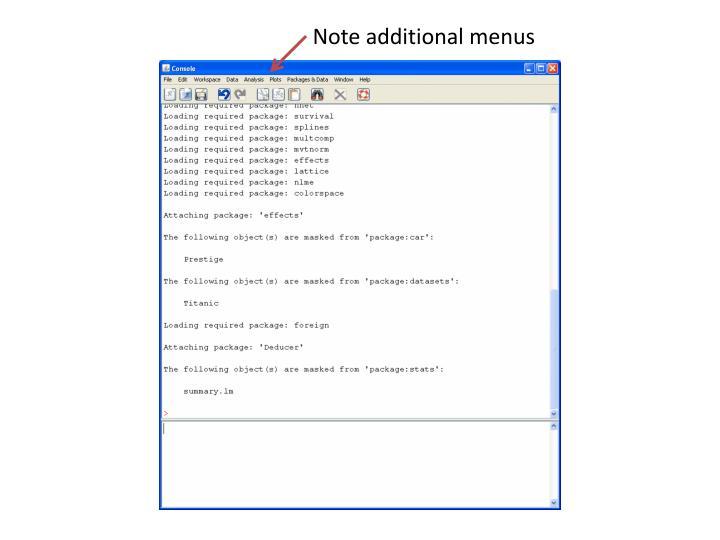 Note additional menus