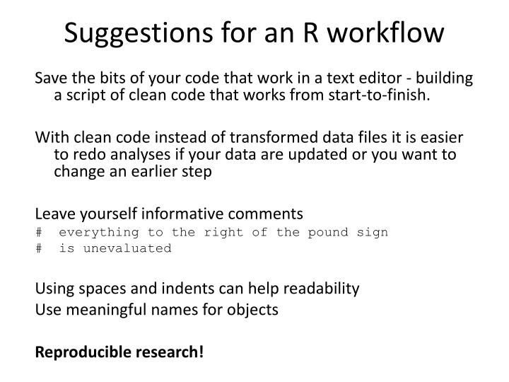 Suggestions for an R workflow
