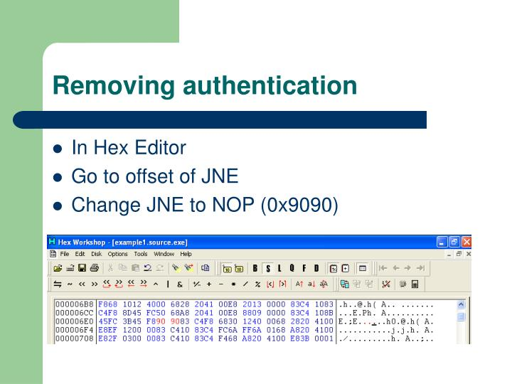 Removing authentication