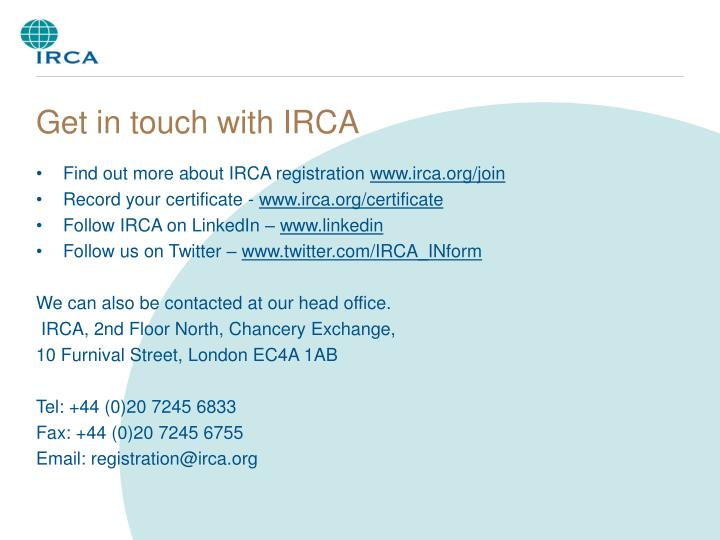 Get in touch with IRCA