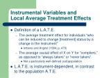instrumental variables and local average treatment effects