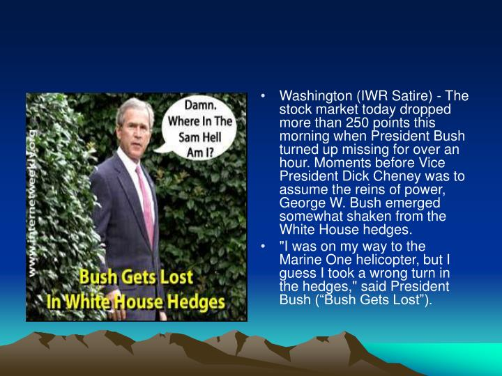 Washington (IWR Satire) - The stock market today dropped more than 250 points this morning when President Bush turned up missing for over an hour. Moments before Vice President Dick Cheney was to assume the reins of power, George W. Bush emerged somewhat shaken from the White House hedges.