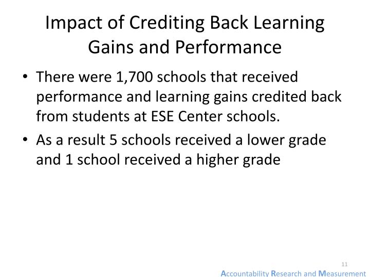 Impact of Crediting Back Learning Gains and Performance