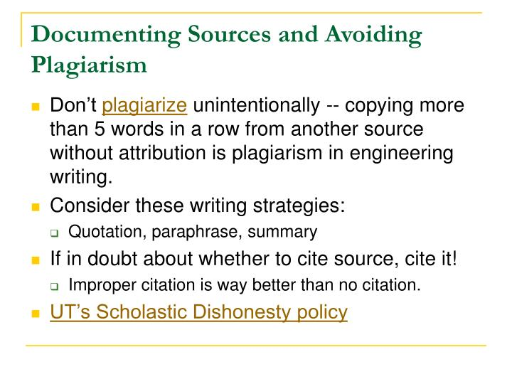 Documenting Sources and Avoiding Plagiarism