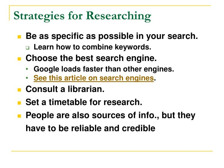 Strategies for Researching