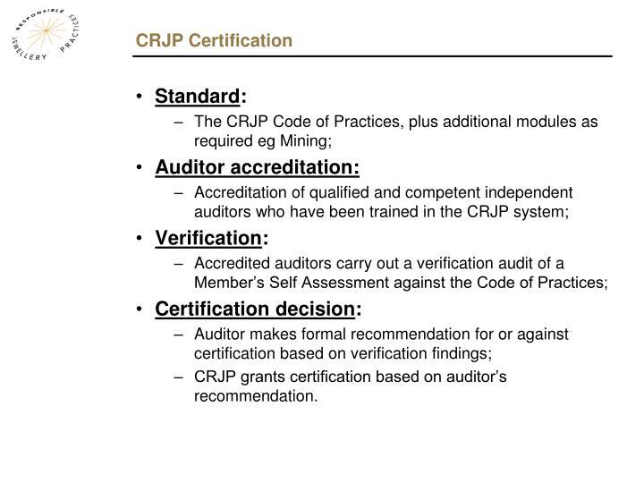 CRJP Certification
