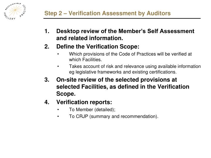 Step 2 – Verification Assessment by Auditors