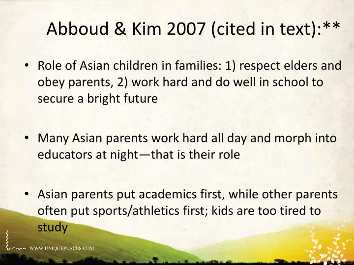 Abboud & Kim 2007 (cited in text):**