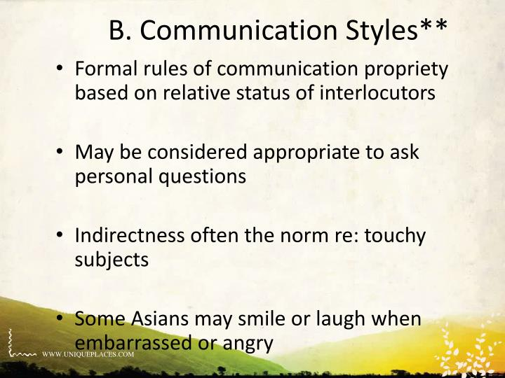 B. Communication Styles**