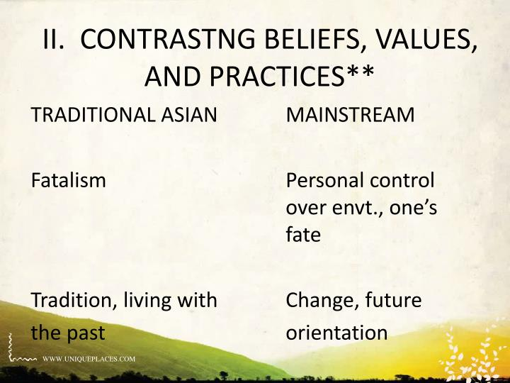 II.  CONTRASTNG BELIEFS, VALUES, AND PRACTICES**