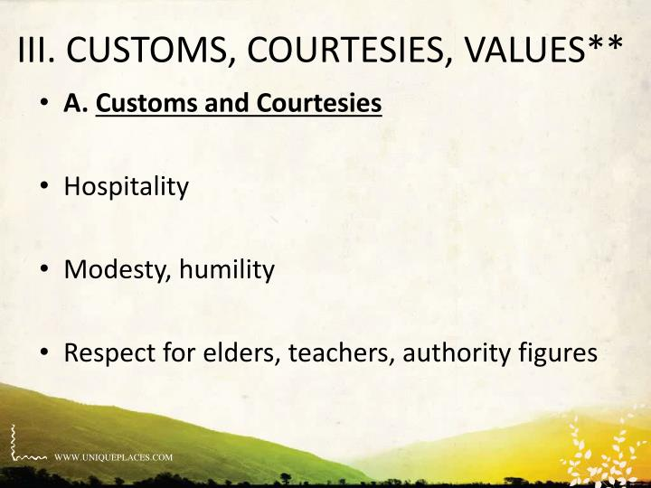 III. CUSTOMS, COURTESIES, VALUES**