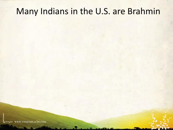 Many Indians in the U.S. are Brahmin