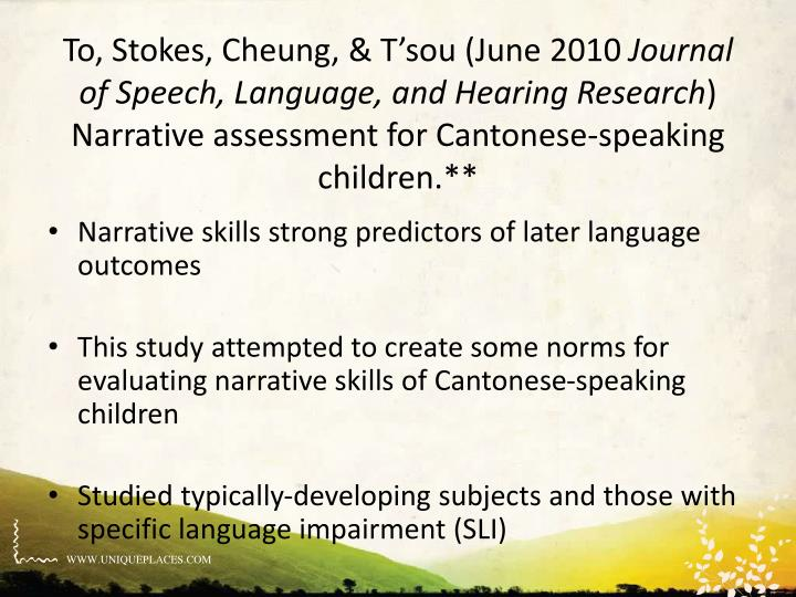 Narrative skills strong predictors of later language outcomes
