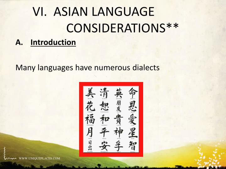 VI.  ASIAN LANGUAGE CONSIDERATIONS**