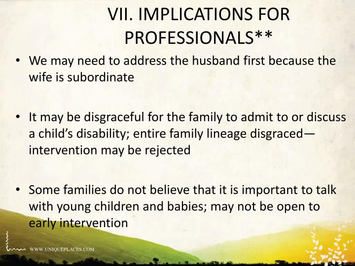 VII. IMPLICATIONS FOR PROFESSIONALS**