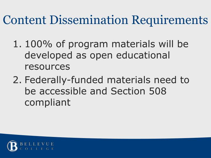 Content Dissemination Requirements