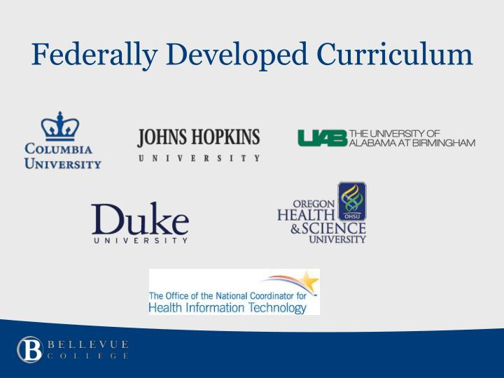 Federally Developed Curriculum
