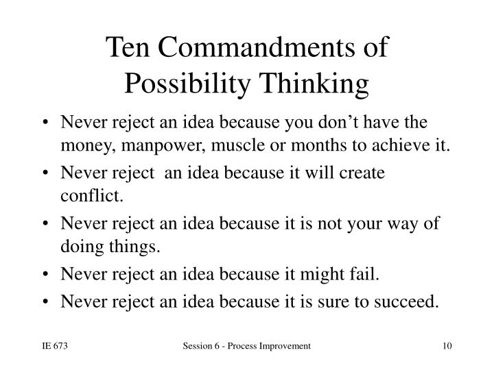 Ten Commandments of Possibility Thinking
